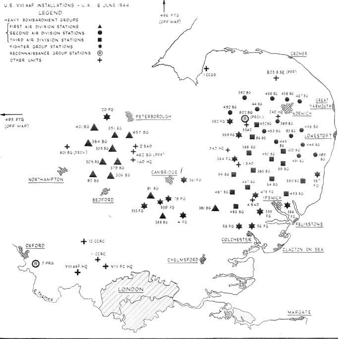 Map of 8th AAF Bases in England