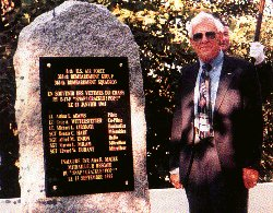 Magee at his crew's monument