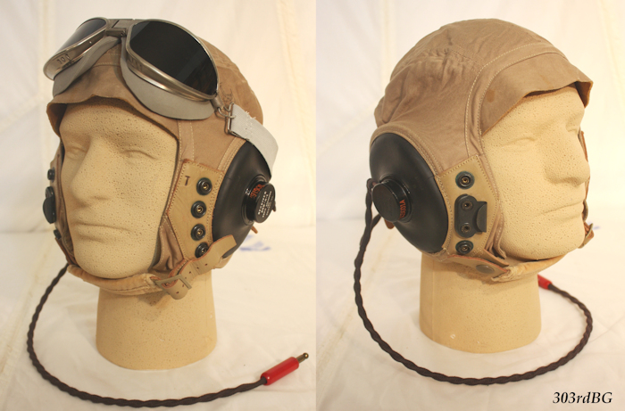 1f161ab965 (F-11) Shown above left and right are the B-7 goggles topping off the  AN-H-15 summer helmet. It is rare to find a bomber crew