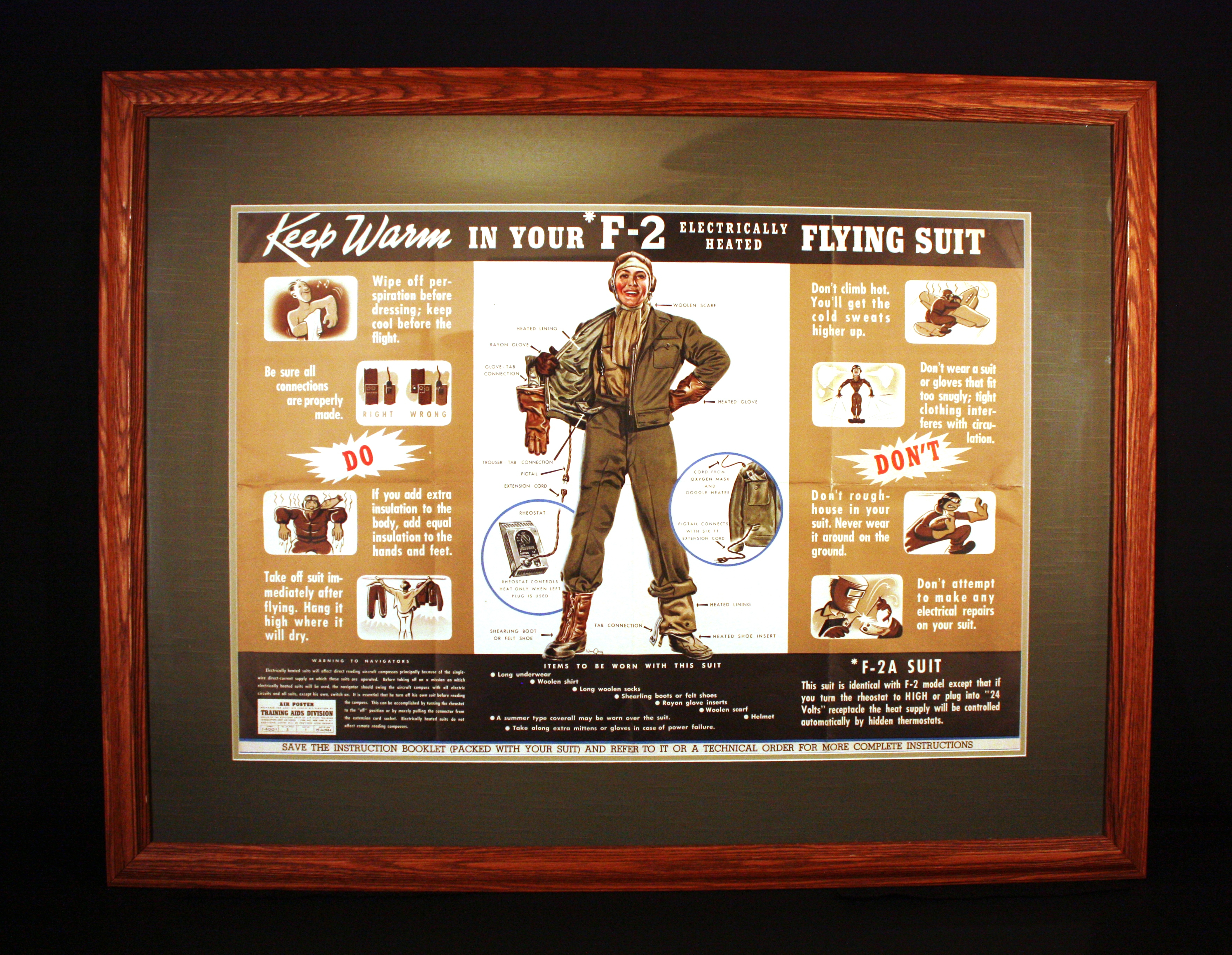 Wwii Uniforms Flight Gear 1944 1945 F 2 Heated Suit Jacket Wiring 3 4 Here Is An Original Air Poster From The Training Aids Division Dated July Many Posters Were Created And Then Posted Where Crews Would