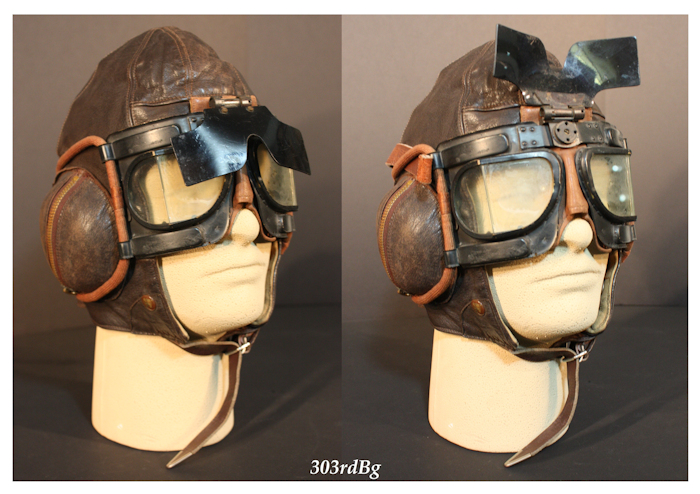 e507934172 (F-9) Shown above is the early RAF type B helmet with the RAF MK IV B  goggles.