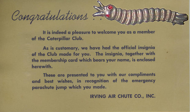 Caterpillar Club Card And Pin